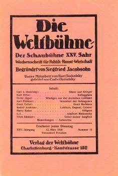 Capa do Die Wetlbühne, em 1929.