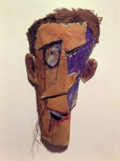 Arte com o rosto de Hugo Ball.