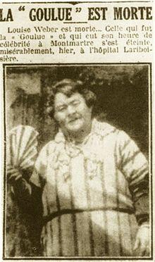 Notícia de jornal anunciando a morte de La Goulue