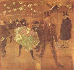 La Goulue e seu parceiro, Valentin Le Désossé. Pintura de Toulouse-Lautrec, 1895.