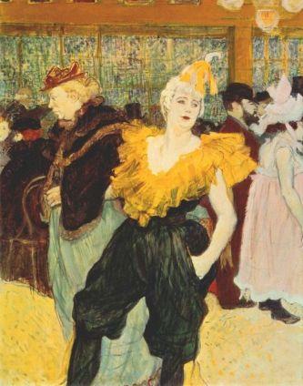 Mademoiselle Cha-u-Kao de braços dados com Gabrielle. Moulin Rouge. Pintura de Henri Toulouse-Lautrec.