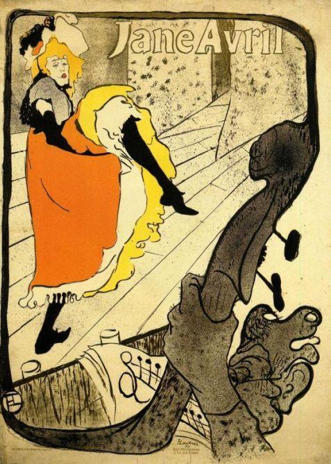 """Cartaz de Toulouse Lautrec. Jane Avril em """"Jardim de Paris"""""""