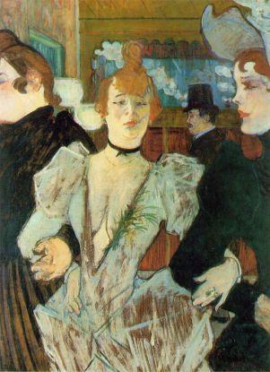 La Goulue chegando no Moulin Rouge, 1892. Pintura de Toulouse-Lautrec.