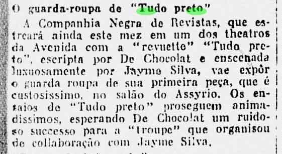"""A Noite, 08 de Julho de 1926. P 5. """"O guarda roupa de Tudo Preto"""""""