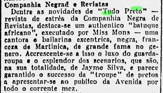 """A Noite 14 de Julho de 1926. P.5. """"Companhia Negra de Revista"""""""
