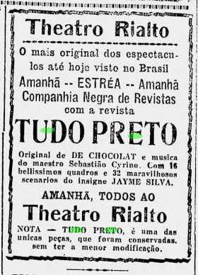 """A Noite, 30 de Julho de 1926. P.5. Anúncio da estreia da peça """"Tudo Preto"""" no Teatro Rialto."""