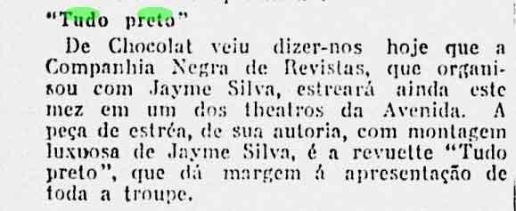 """A Noite, 06 de Julho de 1926. P. 5 """"Tudo Preto"""""""