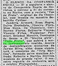 """Jornal do Brasil, 28 de Julho de 1926. p. 5. """"O Elenco da Companhia Negra"""""""