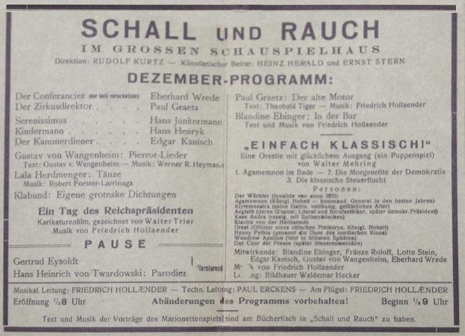 Programa da mostra de dezembro de 1919 do segundo Schall und Rauch.